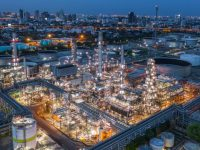 aerial view of oil refinery at night